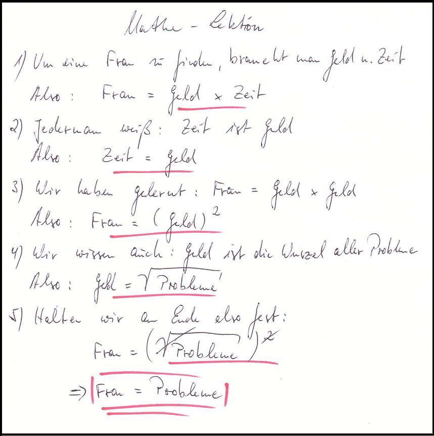 Mathe Lektion, Frau-Geld