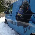 loslachen bus im schnee