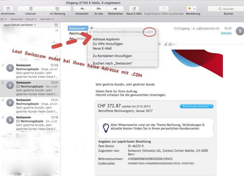 Achtung, falsche Swisscom-Mail mit Rechnung!