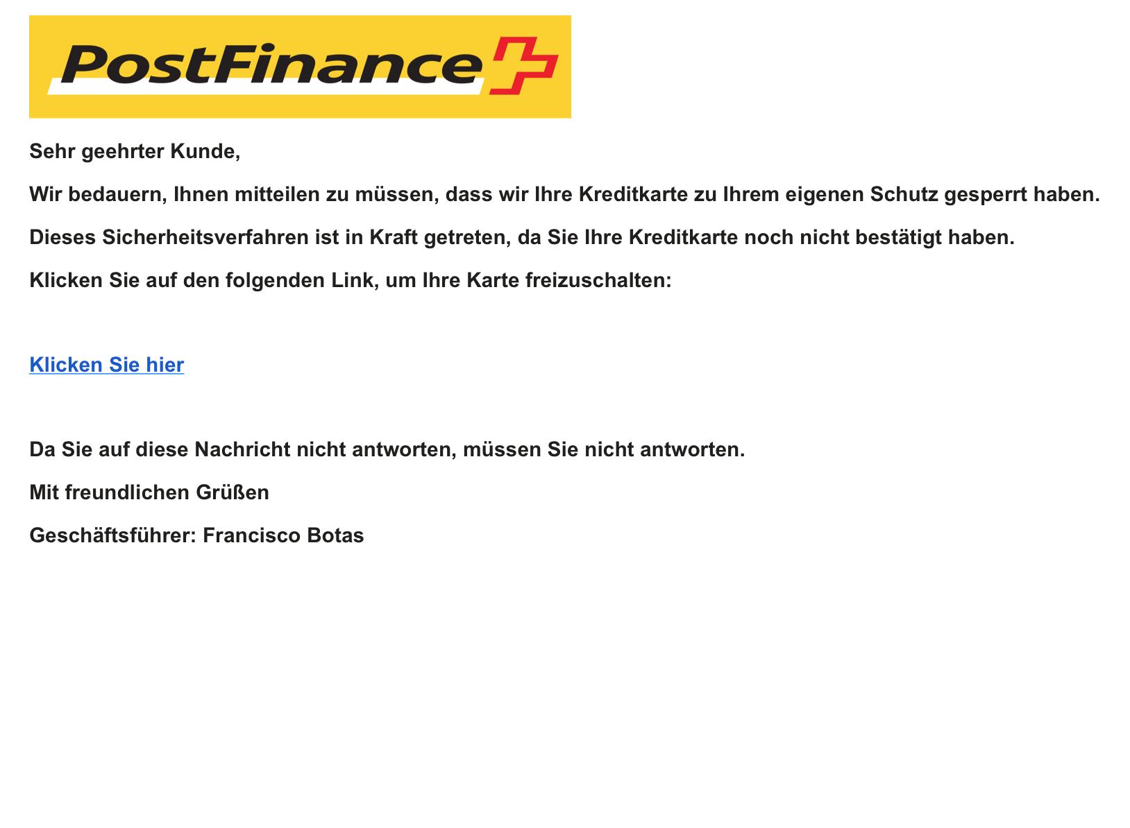 Achtung Betrugsmail